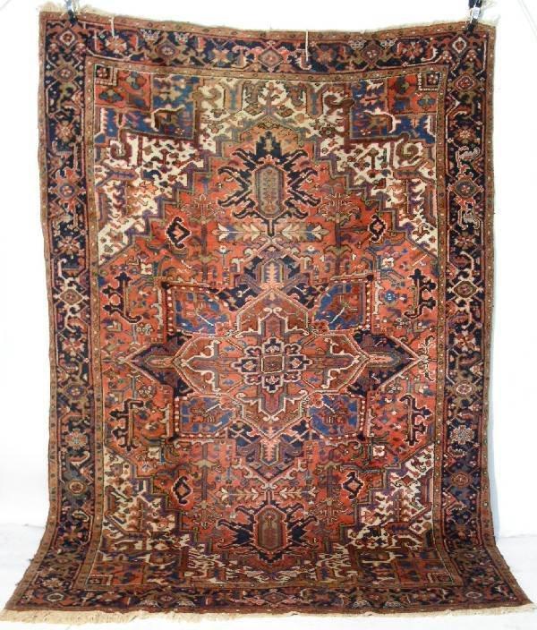 7: Colorful antique Heriz center hall oriental carpet w