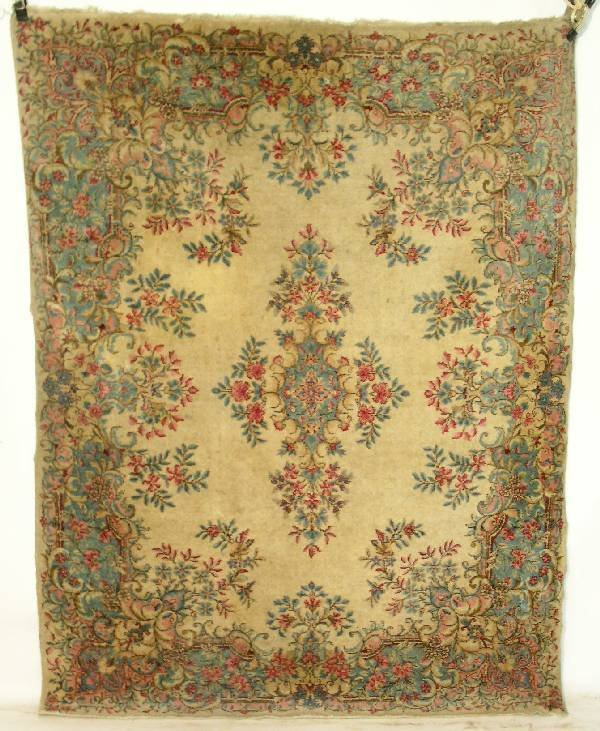 8: Kerman center hall oriental carpet, beige field, flo