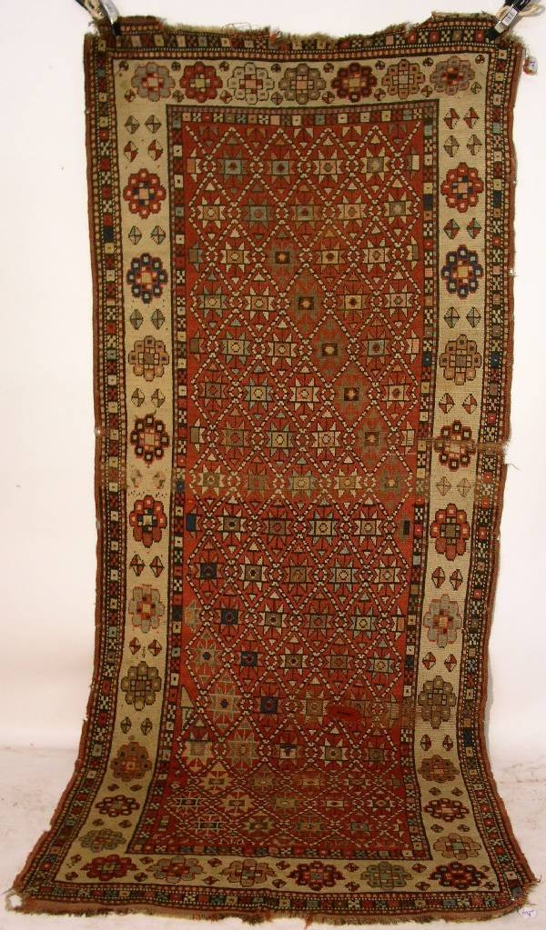 9: Antique Caucasian oriental hall runner, red field, g