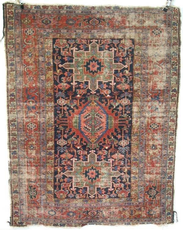 10: Antique Heriz center hall oriental carpet with thre