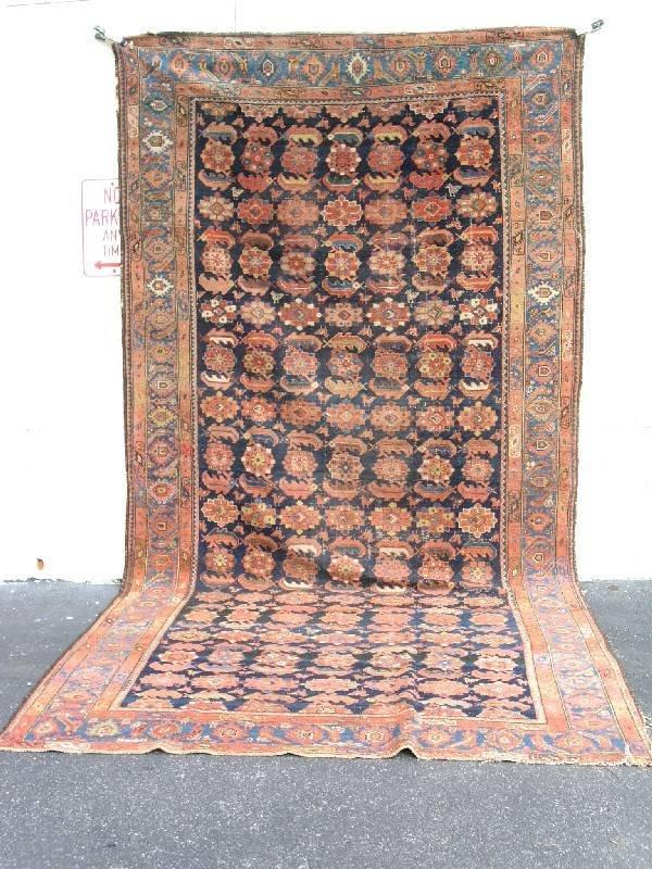 12: Antique Malayir oriental carpet, blue field, rust b