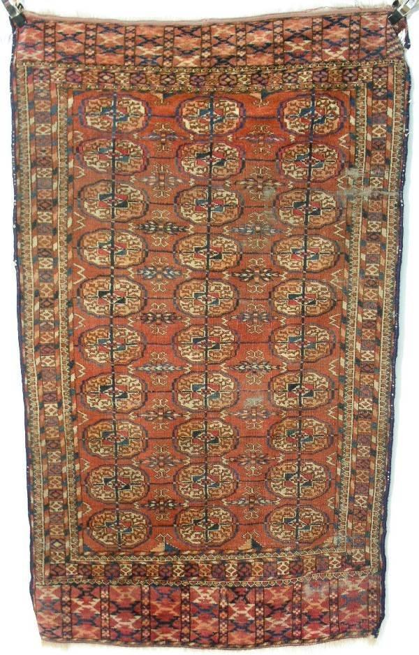 13: Bokhara oriental mat, red field, multicolor medalli