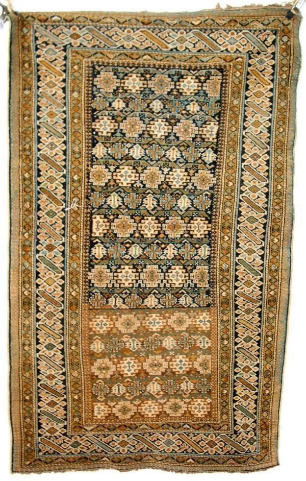 14: Antique Shirvan oriental mat, geometric patterns. 3