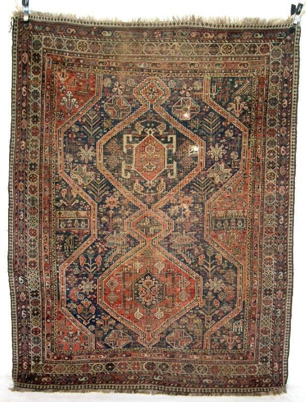15: Shirvan oriental center hall carpet, blue field, ge