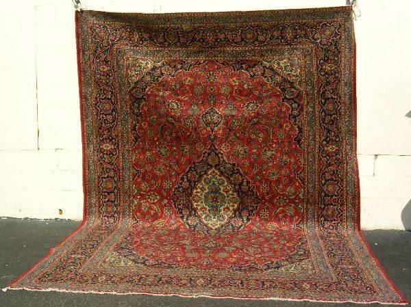 16: Semi antique room size Kashan oriental carpet, red