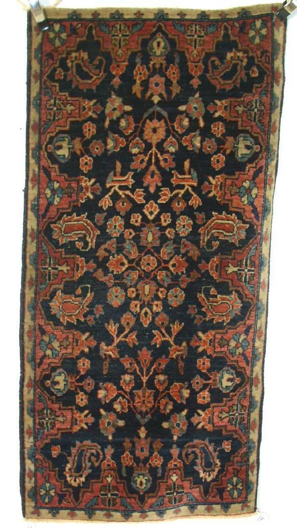 17: Sarouk oriental mat, blue field, floral patterns