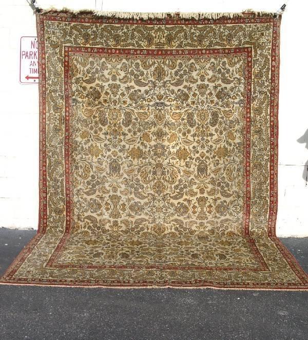 19: Semi antique room size Tabriz oriental carpet, beig