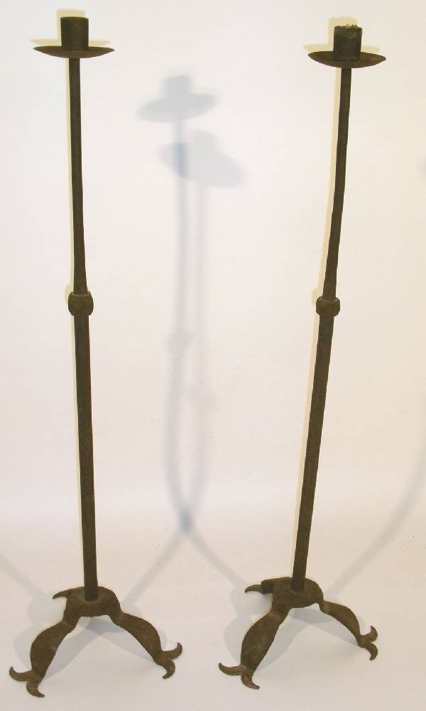 21: Nice large pair of wrought iron candlesticks signed