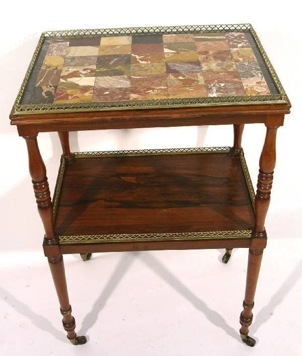 25: Unusual Regency rosewood two-tier table with patchw