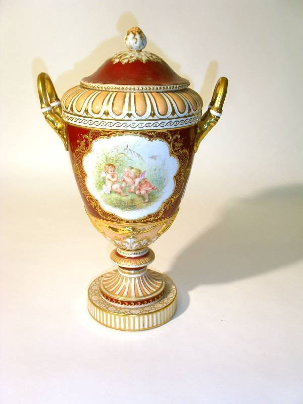 26: Large KPM German porcelain covered urn, late 19th c