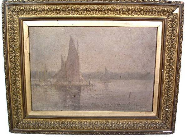 27: Oil on canvas painting of a dock scene with figures
