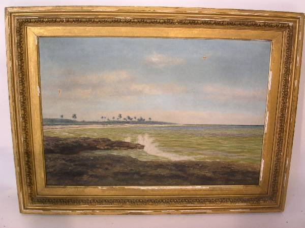 92: Oil on canvas painting of a water scene with beach