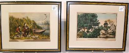 """147: Four framed Currier & Ives and Currier prints """"Woo"""
