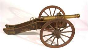 204 Finely detailed brass cannon mid 19th c style u