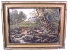 412: Oil on canvas landscape painting, 19th c., of a st
