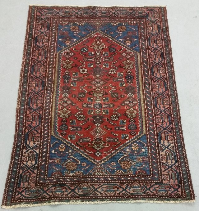 "Hamadan center hall carpet with red field.  4'10"" x"