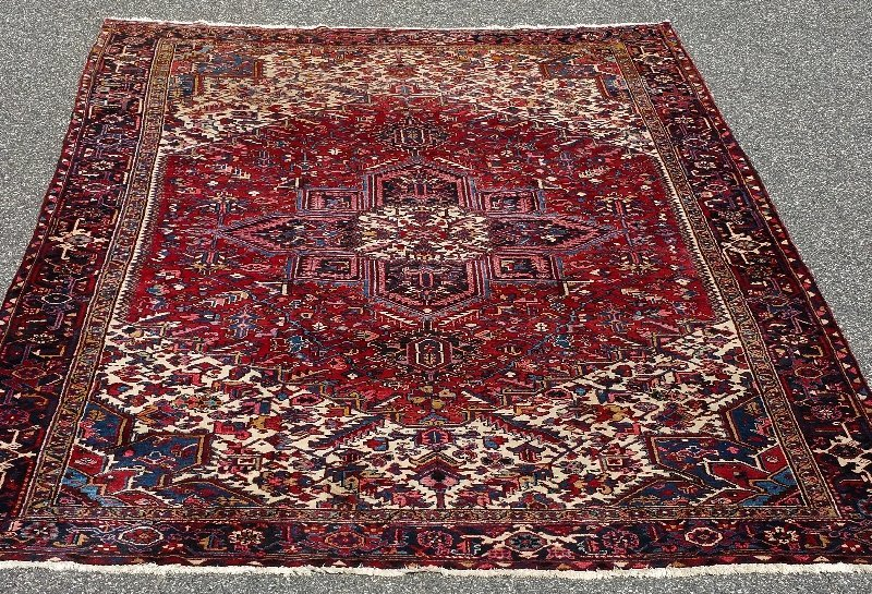 "Room size Oriental carpet with red center. 15' 6"" x 11'"
