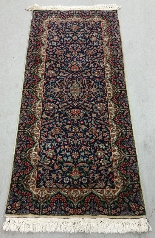 "Kerman style runner with blue field.  6'6"" x 2'6"""
