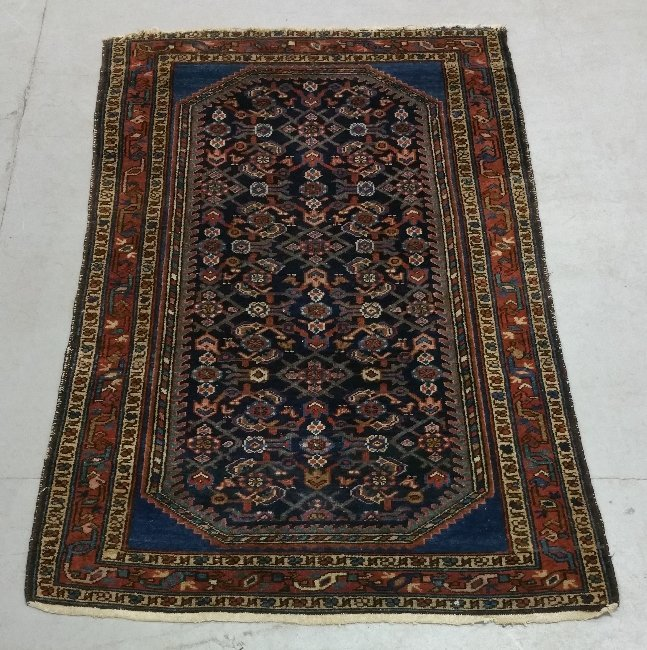 "Hamadan center hall carpet with blue field. 5'4"" x 3'4"""