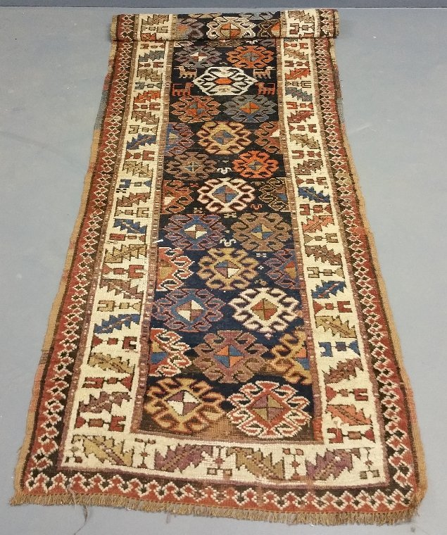 "Kazak style tribal hall runner. 9'11"" x 3'11"""