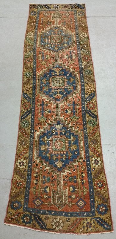 Oriental hall runner with three geometric blue