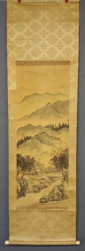 Japanese scroll painted on paper with bone handle in a