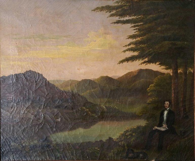 "Folk art oil on canvas painting of ""Zadock Pratt,"