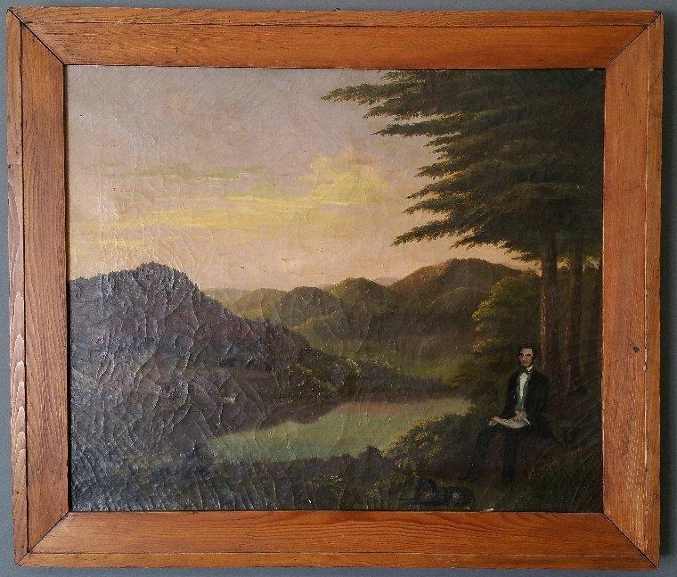 "Folk art oil on canvas painting of ""Zadock Pratt, - 2"