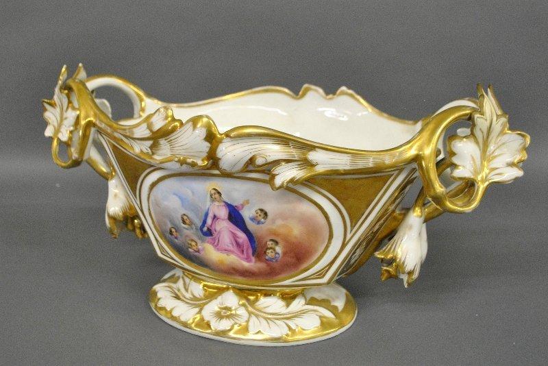 Paris porcelain centerpiece with colorful panel of