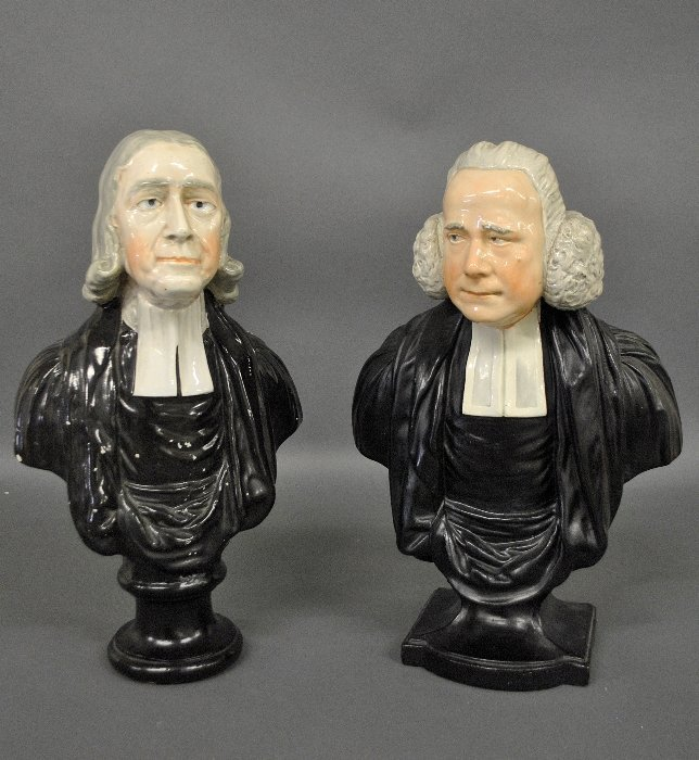 Two English Staffordshire busts, one of The Reverend