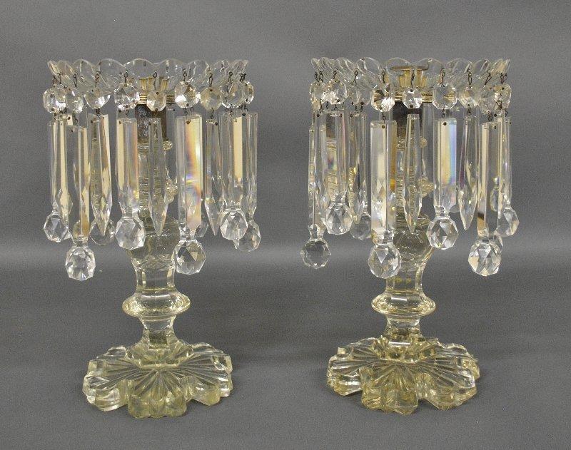 Pair of cut glass candlesticks with drop prisms, circa