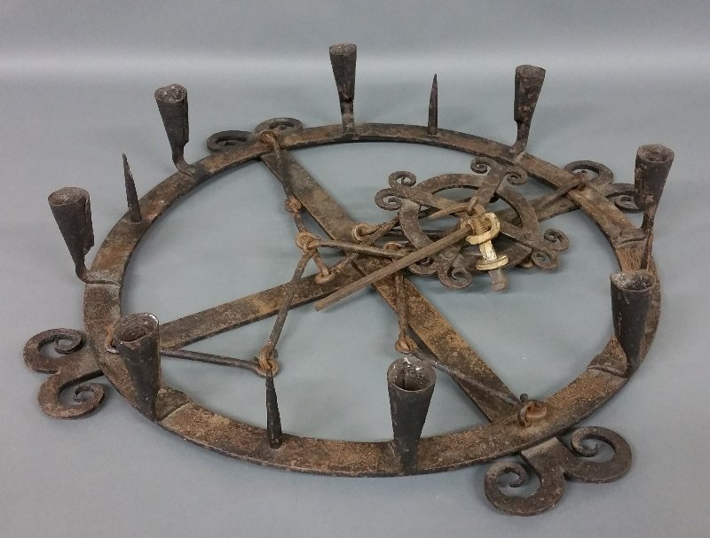 """Medieval style wrought iron hanging chandelier. 27 ½"""""""