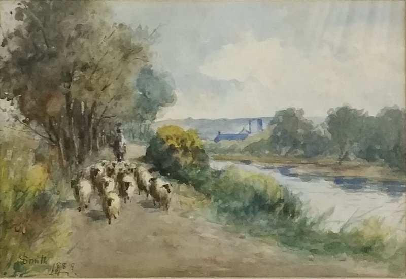 Watercolor of a sheep herder with his flock, signed