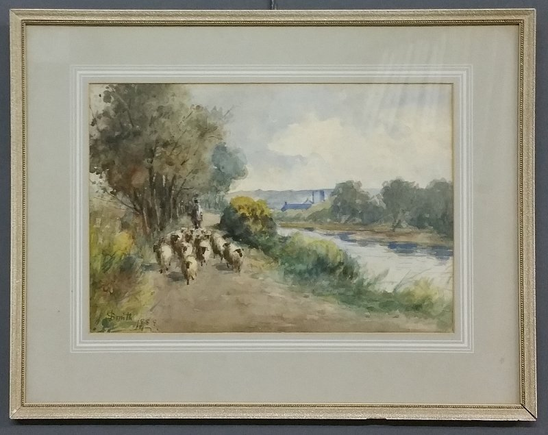 Watercolor of a sheep herder with his flock, signed - 2