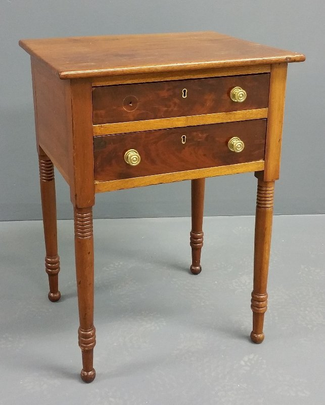 Sheraton mahogany two-drawer stand, circa 1830. 28 ½""