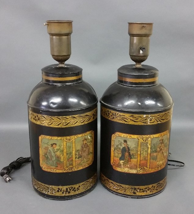 Pair of Chinese trade tea containers converted to lamps