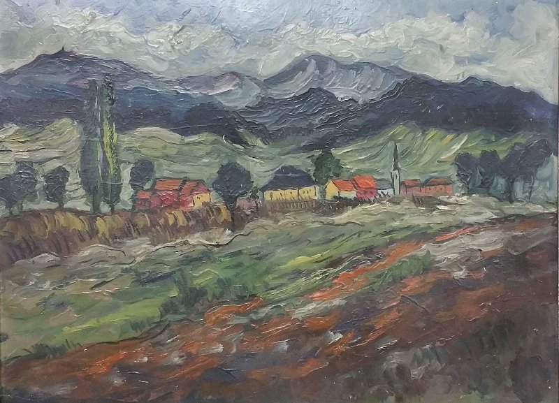 Oil on artist board Impressionist painting of a