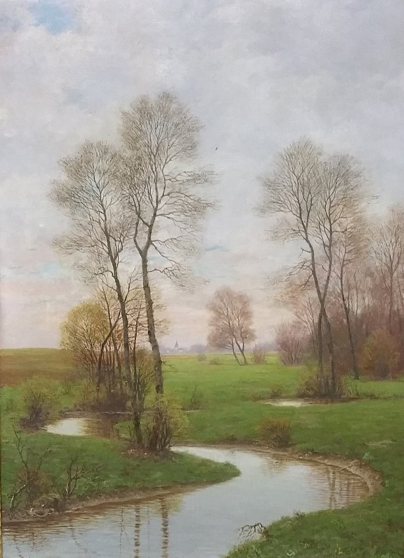 Oil on canvas painting landscape of a stream, signed