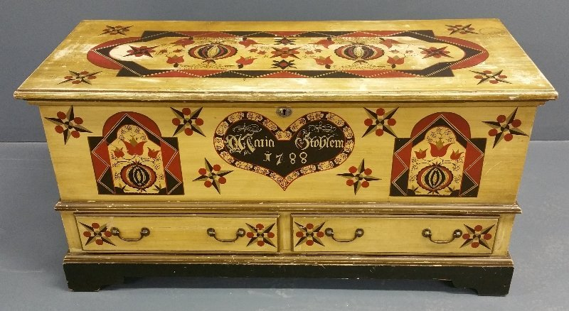 Decorated pine dowry chest with two drawers and labeled