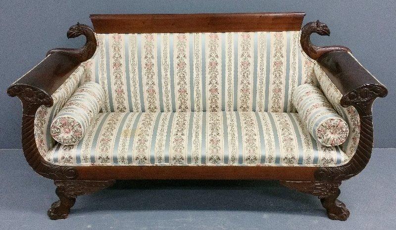 "Small Empire mahogany classical form sofa. 36 ½"" h x"