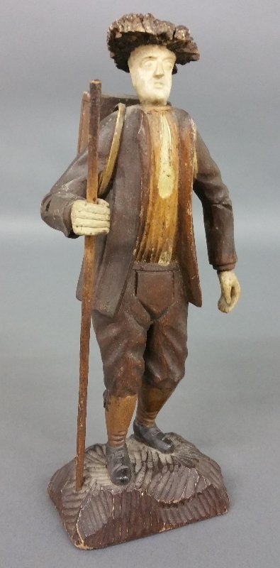 """Diminutive carved hiker. 8 ½"""" h"""