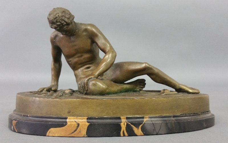 """Bronze figure of """"The Dying Gaul"""" after """"Attalus."""" 4"""" h"""