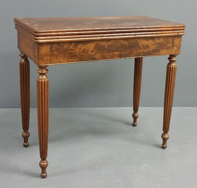 Sheraton mahogany gaming table, early 19th century. 30""