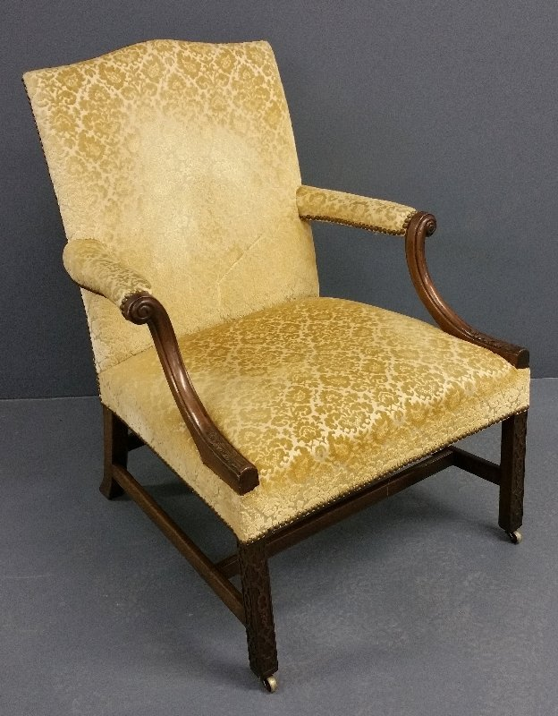 Chippendale style mahogany open armchair with blind