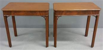 Pair of Chippendale style mahogany end tables by