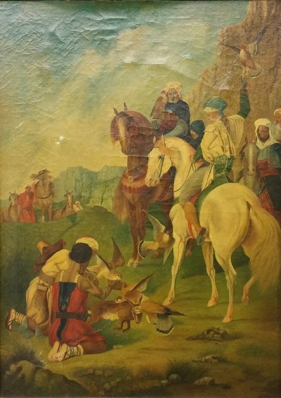 Oil on canvas painting of Arabic men on a falcon hunt,