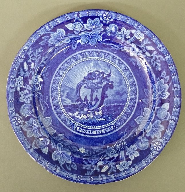 """Staffordshire historical blue """"Rhode Island"""" plate by"""