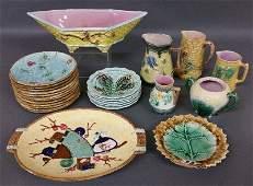 English majolica tableware to include a centerpiece