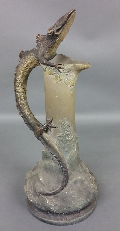 Unusual Art Nouveau pottery pitcher with lizard form