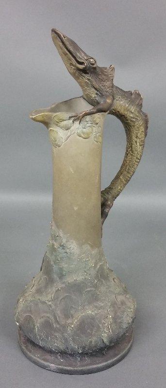 Unusual Art Nouveau pottery pitcher with lizard form - 3